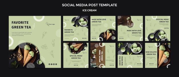 Publicación en redes sociales con helado