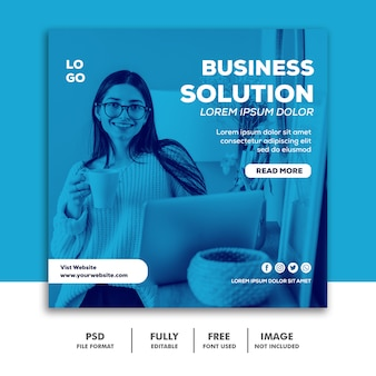 Publicación en redes sociales instagram banner template business solution blue