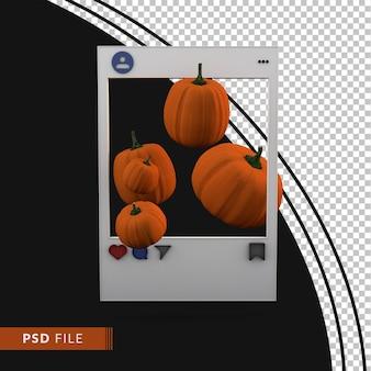 Publicación de redes sociales instagram con calabaza y fondo negro 3d render