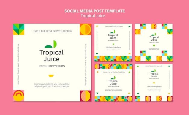 Publicación en redes sociales de jugo tropical