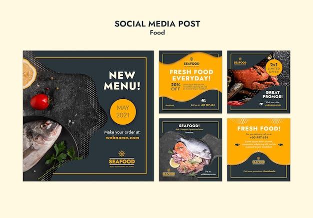 Publicación de redes sociales de mariscos frescos