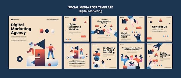 Publicación en redes sociales de marketing digital