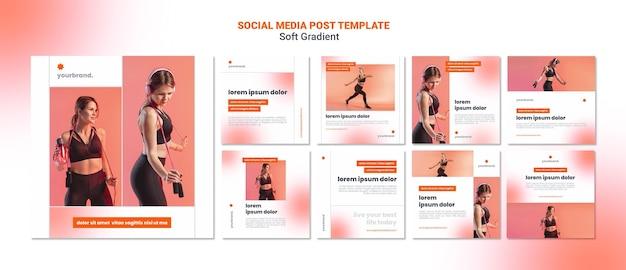 Publicación de redes sociales de mujer deportiva suave degradado