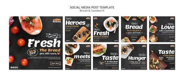 Publicación en redes sociales de pan y sándwich