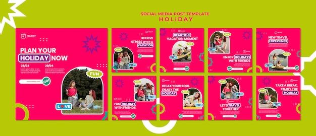 Publicación en redes sociales de planes de vacaciones
