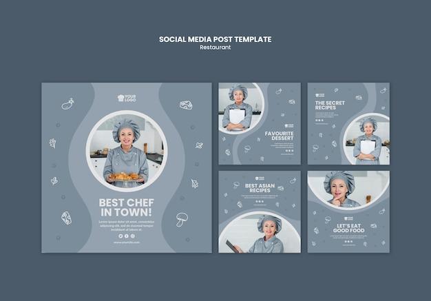 Publicación en redes sociales de plantilla de anuncio de restaurante
