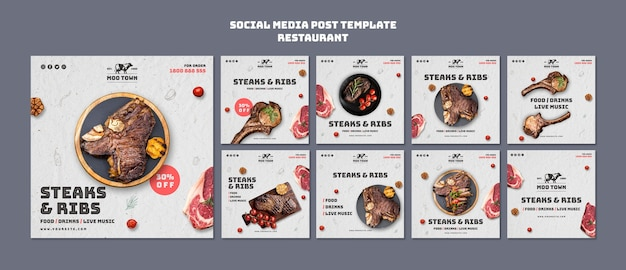 Publicación de redes sociales de plantilla de restaurante de carnes
