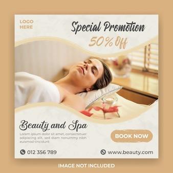 Publicación en redes sociales de promoción de belleza y spa