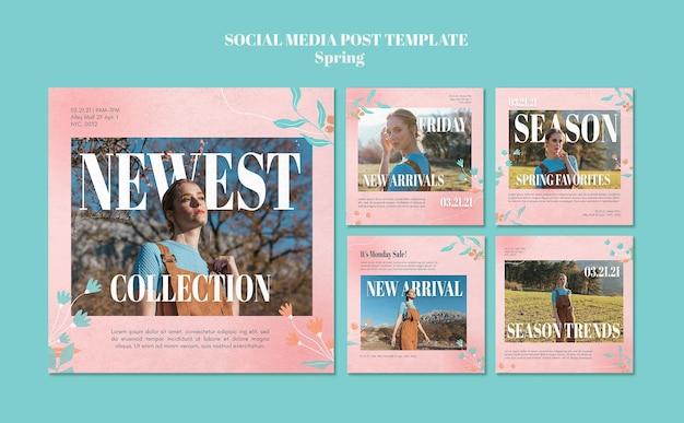 Publicación de redes sociales de rebajas de primavera