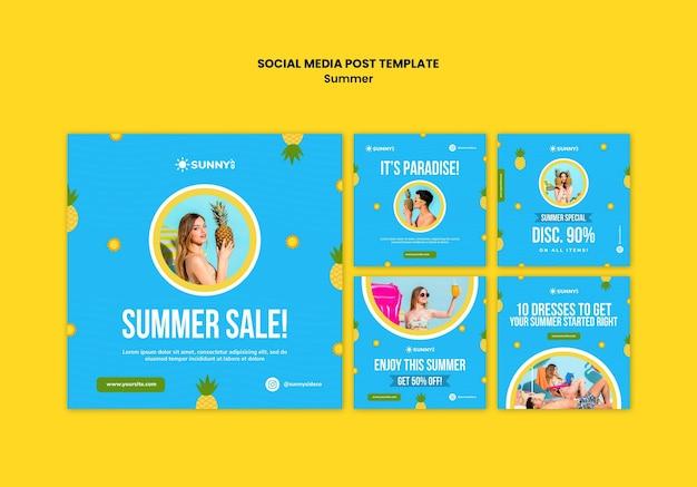 Publicación de redes sociales de rebajas de verano