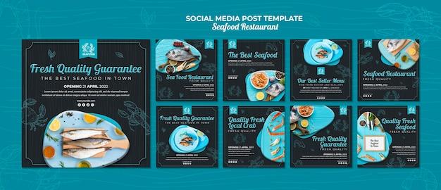 Publicación en redes sociales de restaurante de mariscos