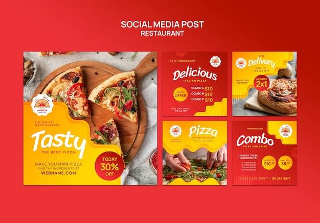 Publicación en redes sociales de restaurante de pizza