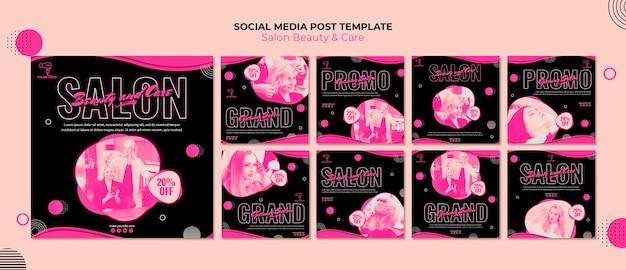 Publicación en redes sociales de salón de belleza