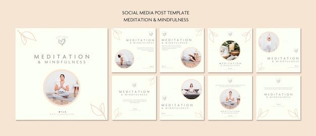 Publicación en redes sociales sobre meditación y atención plena