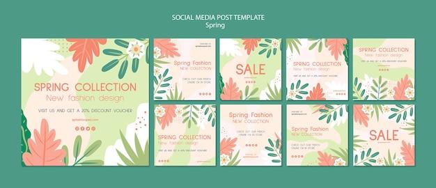 Publicación de las redes sociales de spring collection