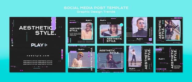 Publicación en redes sociales de tendencias de diseño gráfico
