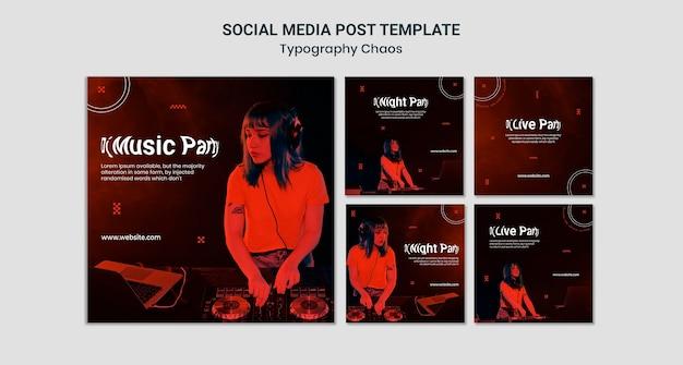 Publicación de redes sociales de tipografía caos