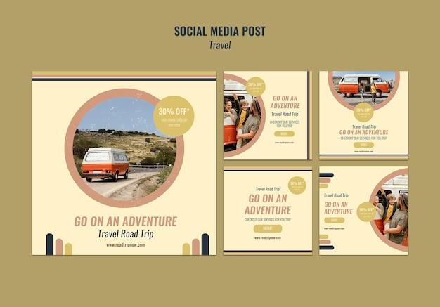 Publicación en redes sociales de viajes por carretera.