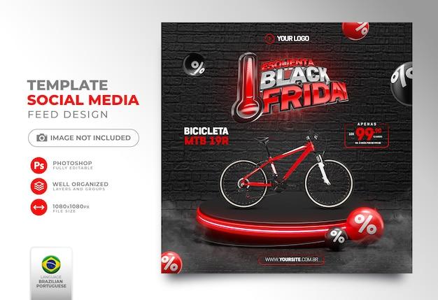 Publicación en redes sociales viernes negro render 3d realista para campañas de marketing en brasil en portugués