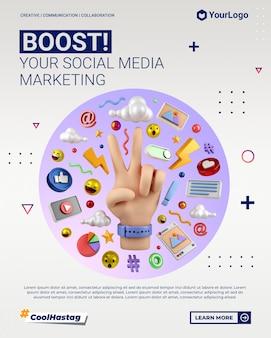 Publicación de retrato de instagram de marketing en redes sociales con plantilla de renderizado de mano de ilustración de dibujos animados en 3d