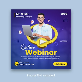 Publicación de seminario web en vivo en línea en las redes sociales o plantilla de banner cuadrado