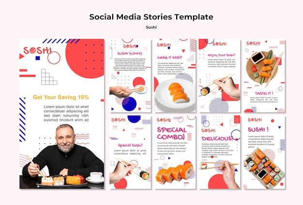 Publicación de sushi en las redes sociales