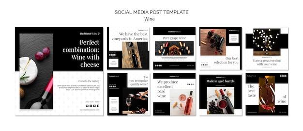 Publicación tradicional en redes sociales sobre vinos