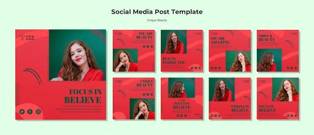 Publicación única en redes sociales de belleza