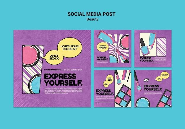 Publicaciones de belleza pop art en redes sociales