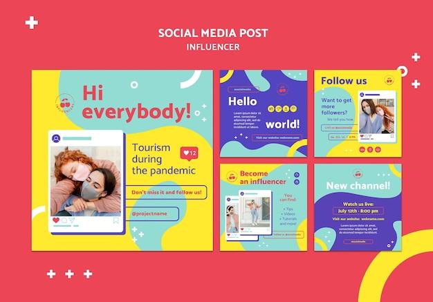 Publicaciones coloridas de influencers en redes sociales