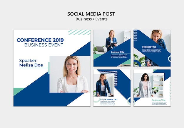 Publicaciones corporativas en redes sociales con contenido de mujer de negocios