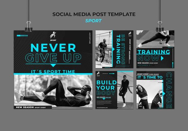 Publicaciones deportivas en redes sociales con foto. PSD gratuito