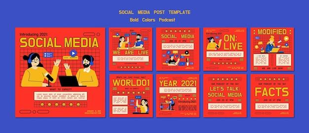 Publicaciones ilustradas de podcasts en redes sociales