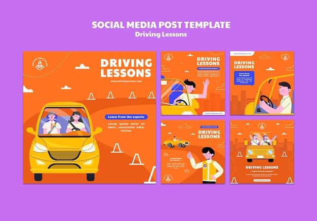 Publicaciones ilustradas en las redes sociales de la escuela de manejo
