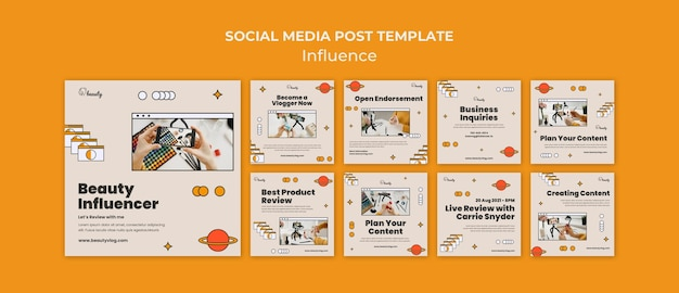 Publicaciones de influencers en redes sociales