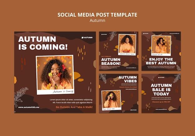 Publicaciones de otoño en las redes sociales