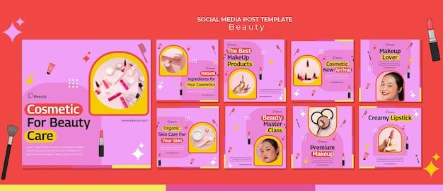 Publicaciones de productos de belleza en redes sociales
