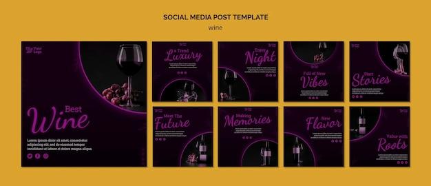 Publicaciones promocionales de vino en instagram