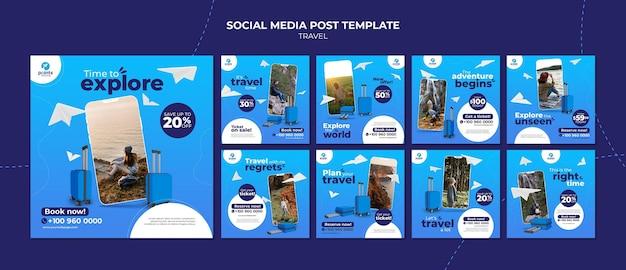 Publicaciones en redes sociales de agencias de viajes