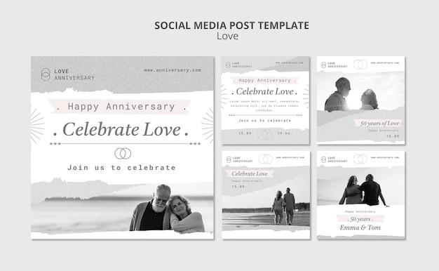 Publicaciones de redes sociales de aniversario de pareja