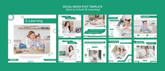 Publicaciones de redes sociales de aprendizaje electrónico