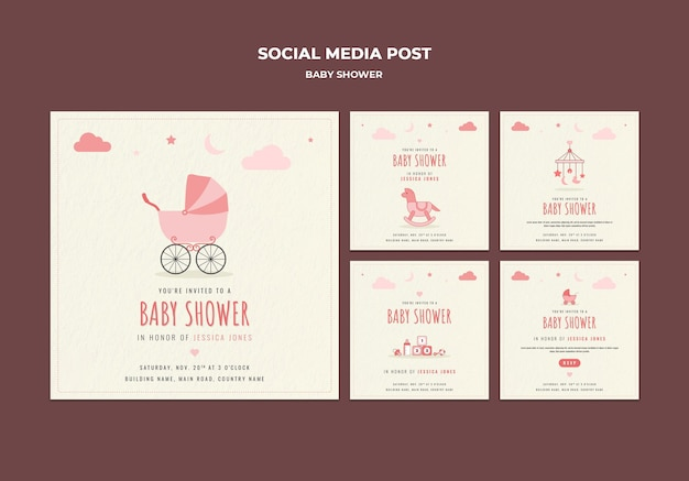 Publicaciones en redes sociales para baby shower