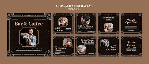 Publicaciones en redes sociales de bares y cafés