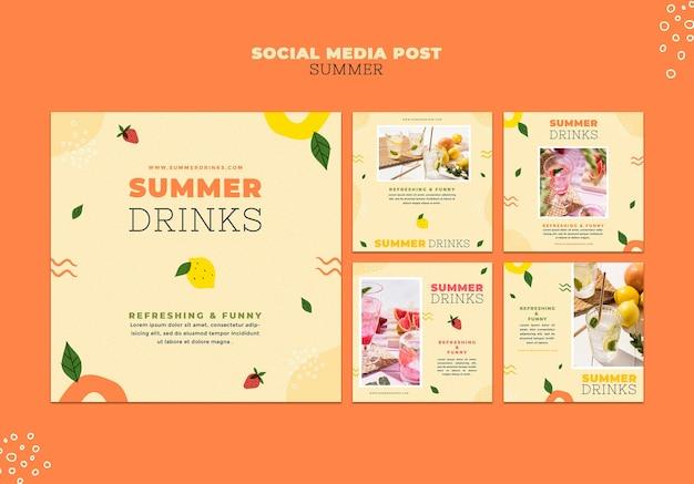 Publicaciones en redes sociales de bebidas de verano