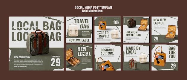 Publicaciones en redes sociales de bolsa de viaje