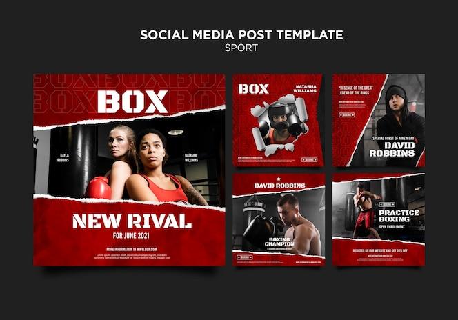 Publicaciones en redes sociales de box