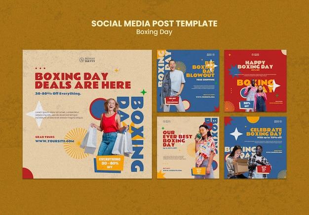 Publicaciones en las redes sociales del boxing day en colores retro