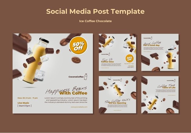 Publicaciones en redes sociales de chocolate con café helado