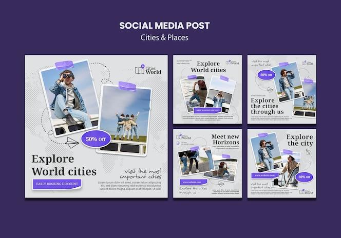 Publicaciones en redes sociales de ciudades y lugares