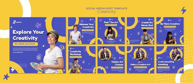 Publicaciones en redes sociales de clases de arte en línea